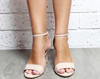 Ladies Nude Wedges Bridal Shoe Wedding Wedge Shoes Heels