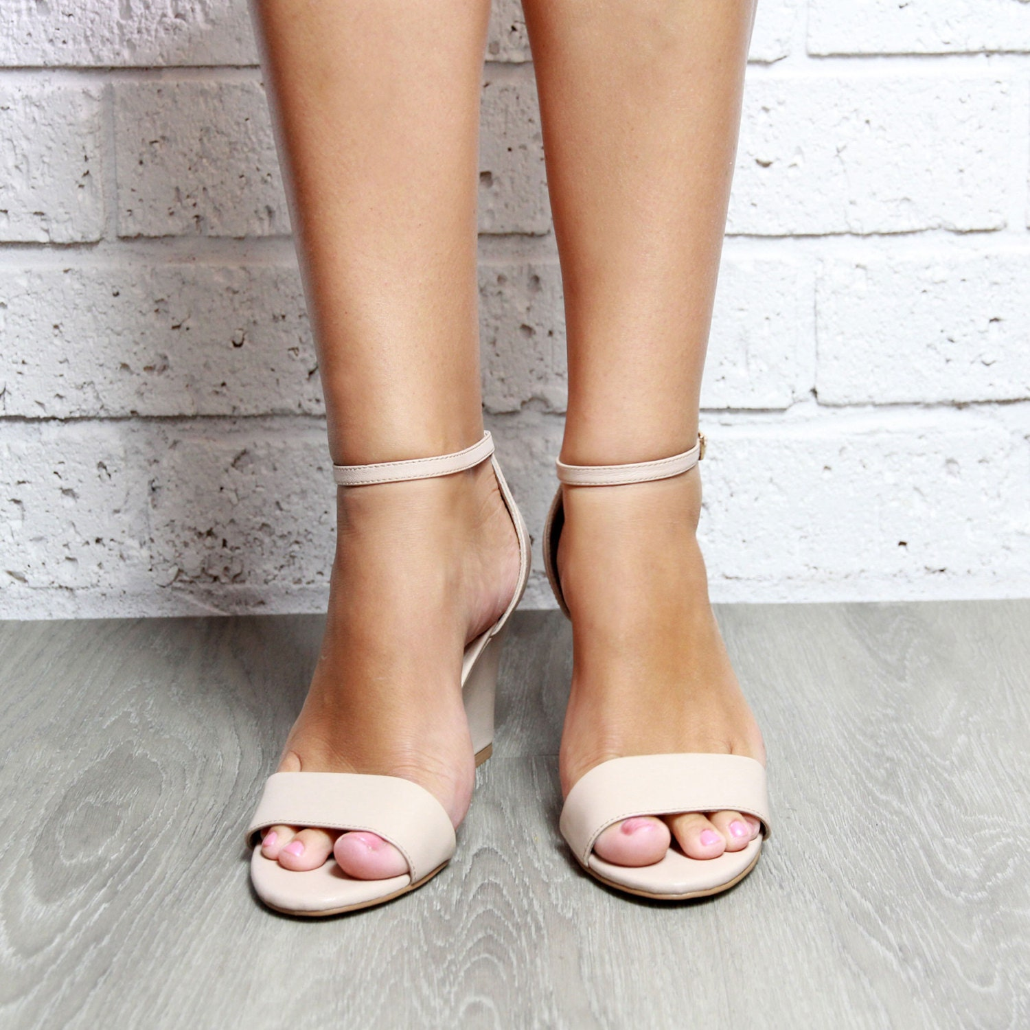 Wedding Wedge Heels: Ladies Nude Wedges Nude Bridal Shoe Wedding Wedge Bridal