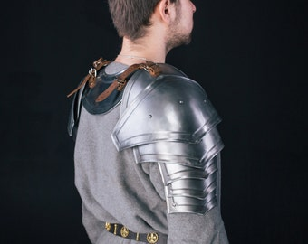 LARP Warrior Pauldrons&Gorget  - Steel Armor Gorget and Pair of Pauldrons