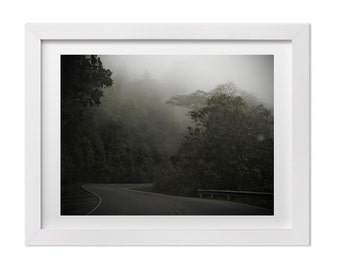 Costa Rica Landscape Photography, Surreal Drive Through the Costa Rican Rainforest, Foggy Nature Photograph, Travel Print, Large Wall Art