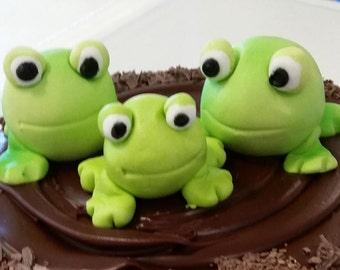 Frog Family Fondant Cake Topper