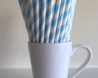 Blue Paper Straws Light Blue Baby Blue Pastel Blue Striped Party Supplies Party Decor Bar Cart Cake Pop Sticks  Party Graduation
