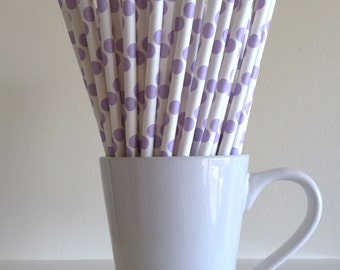 Purple Paper Straws Lavender Lilac Polka Dot Party Supplies Party Decor Bar Cart Cake Pop Sticks Mason Jar Straws Graduation