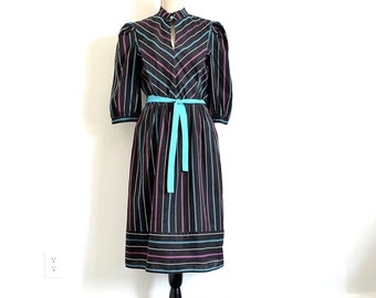 80s New Wave Striped Dress - Vintage Preppy Peasant Cowgirl Style Early 80s Dress - Secretary or Librarian Geeky Normcore Dress