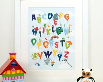 Nursery Art, Alphabet Art, Alphabet Balloons