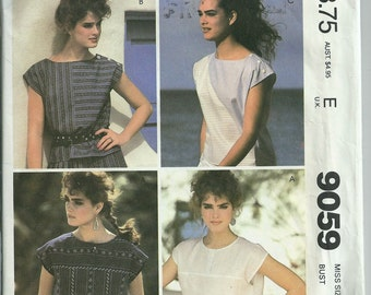 Easy McCall's Brooke Shields 9059 Size 10 Sleeveless Pullover Tops Uncut '80s Pattern