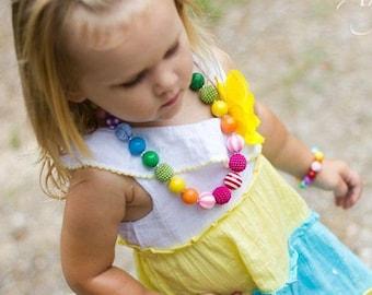 Rainbow Chunky Bubblegum Bead Necklace Bracelet Set, Photo Prop, Toddler Necklace, Rainbow Necklace, Toddler, Little Girls Jewelry