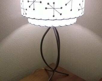Vintage Mid Century Style Fiberglass Lamp Shade Modern Atomic Starbutrst White