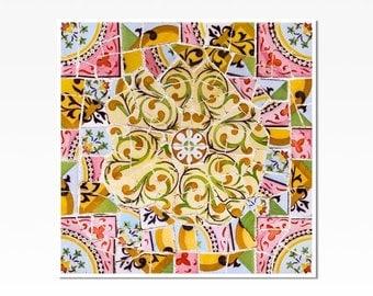barcelona spanish tile home decor wall art print wall decor mosaic - Home Decor Wall Hangings