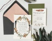 Rustic Feather Wedding Invitation Set, with Invitations & RSVP Cards, woodsy hippie chic rustic wedding, paper lined envelopes
