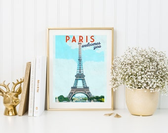 Paris print. Paris poster. Paris art. Paris decor. Paris travel poster. Paris illustration Eiffel tower poster. Wall art print Vintage
