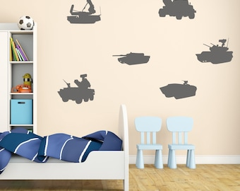 Army Tank and Vehicle Wall Stickers, Army Wall Decals, Boys Wall Art, Boys Bedroom Wall Transfers - MP006