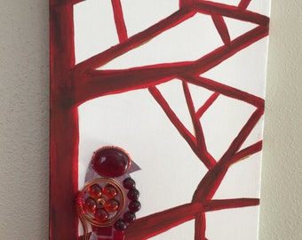 MOSAIC BIRD in Red on Red Branches