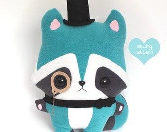 "PDF sewing pattern - Raccoon stuffed animal kawaii woodland plushie - easy beginner cute DIY anime softie plush toy 14"""