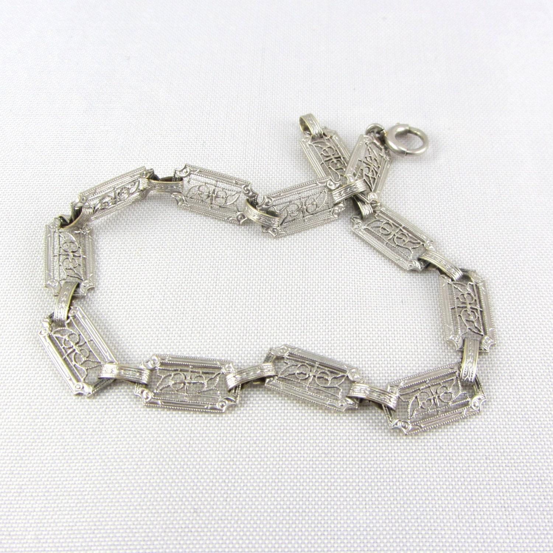 deco 14k white gold filigree bracelet antique krementz