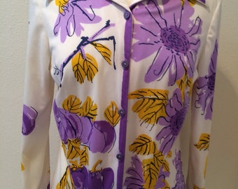 60's Purple and Yellow Floral Blouse by Vera Neumann Ladies Size 14