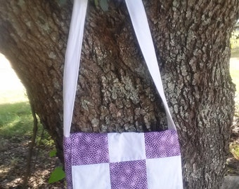 Quilted Messenger Bag, Ladies bag in purple and white on white quilted Messenger Bag
