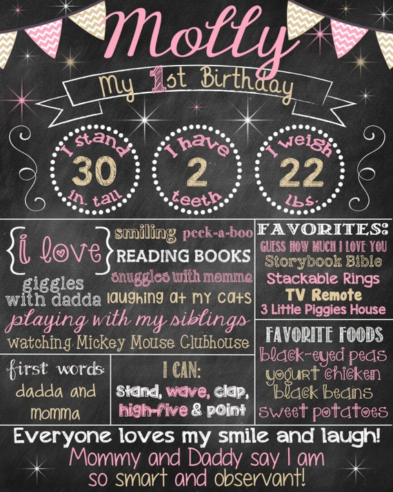 Pink and Gold First Birthday Chalkboard Poster Girl 1st