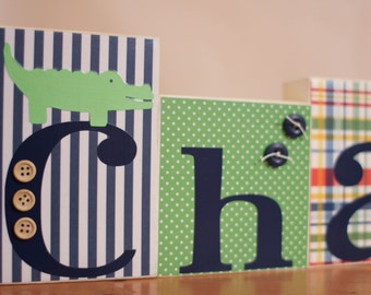Alligator Nursery- Madras Nursery- Plaid Nursery- Plaid Baby Shower- Alligator Baby Shower Decor- Green Navy Nursery- Preppy Alligator Art