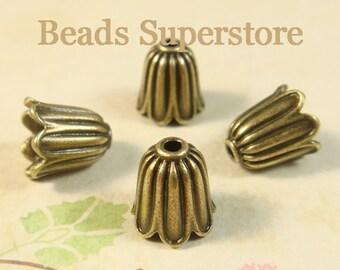 SALE 11 mm x 10 mm Antique Bronze Bell Flower Bead Cap - Nickel Free, Lead Free and Cadmium Free - 10 pcs