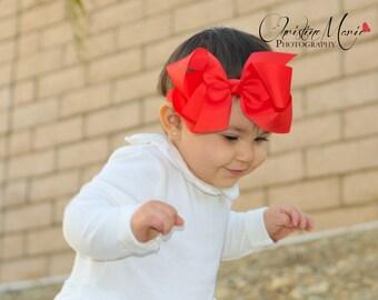Red bow baby girl headband, infant headbands, red headbands, hair bows, baby bows, newborn headbands, 1st birthday