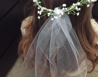 Bachelorette Bridal Baby's breathe flower headband with veil
