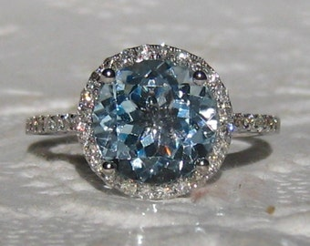Aquamarine Engagement Ring, White Gold Diamond Halo Engagement Ring, Aquamarine Diamond Ring