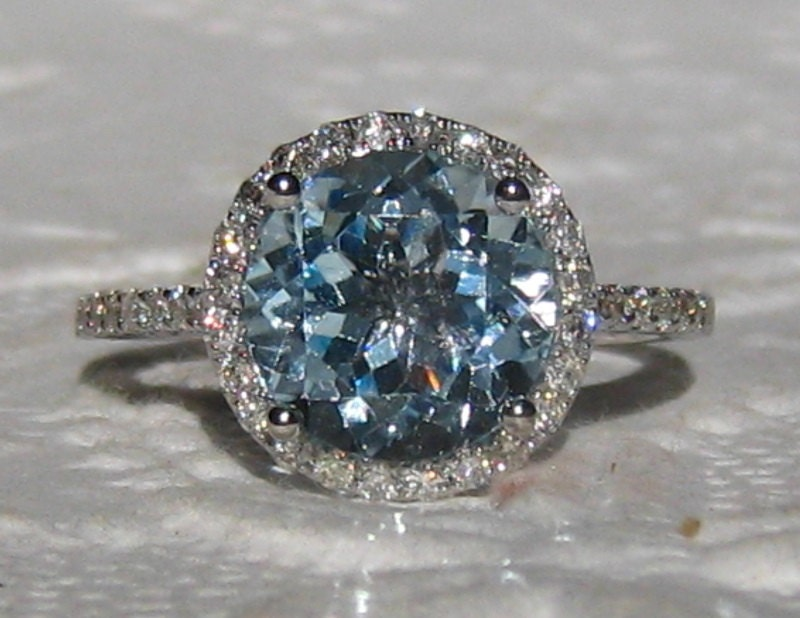 Aquamarine Engagement Ring White Gold Diamond By Juliabjewelry