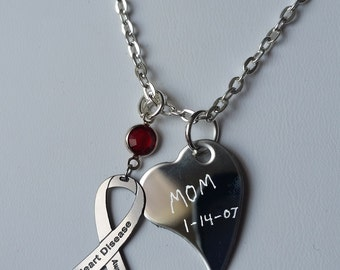 Personalized Heart Disease Awareness Necklace - w/ Swarovski Austrian Crystal, Ribbon Jewelry, Support Custom Charity Cardiovascular Disease