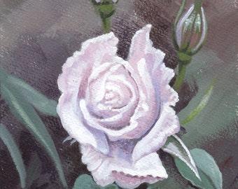 White Rose painting, original art gift, collectable painting, collectable art gift, ORIGINAL acrylic painting, FREE shipping