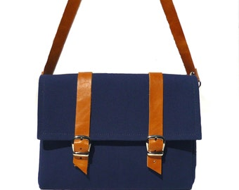 Navy Blue canvas and leather bicycle bag/ handlebar bag