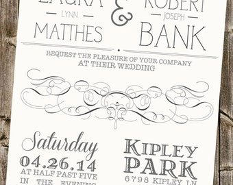 Wedding Paper Set- Simple Linen Typography with Swirls