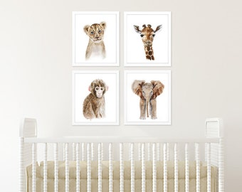 Safari Art Collection, Set of 4 Prints, Nursery Art, Lion, Monkey, Giraffe, Elephant, Home Decor, Animal Wall Art, Gender Neutral Minimalist