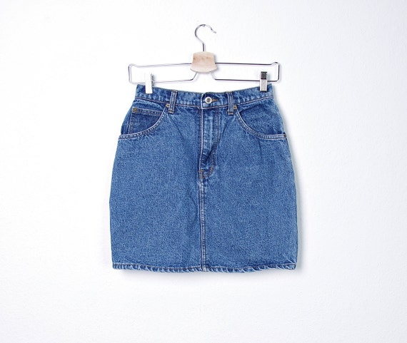 80s blue denim skirt high waisted size by