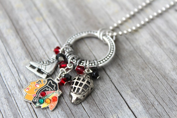 chicago blackhawks necklace chicago by kathrynscollection