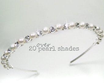 Bridal Headband ,Bridal Hairband, Bridesmaid Headband, Bridesmaid Hairband, Ivory Pearl Hairband, Pearl Wedding Headband, Diamanté  - ELLA