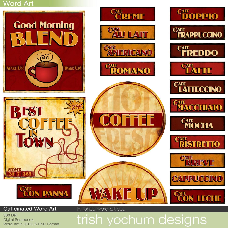 How to scrapbook words - Coffee Word Art Digital Java Clipart Words Scrapbook Quotes Sayings Scrapbooking Titles Printable Instant Download