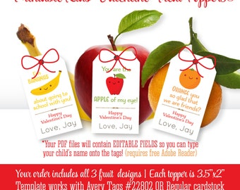 Kids Valentine's Day Fruit Tags - Orange You So Glad - Apple of my eye - I'm Bananas - Healthy School Valentine Printable Tags, Personalized