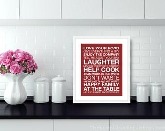 Dinner and Kitchen Rules Wall Art Print - Modern - Burgundy Red - Typography Poster - House Rules - Subway Sign - 8x10