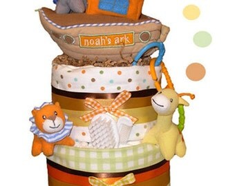 Noah's Ark Diaper Cake - Baby Shower Centerpiece and Gift