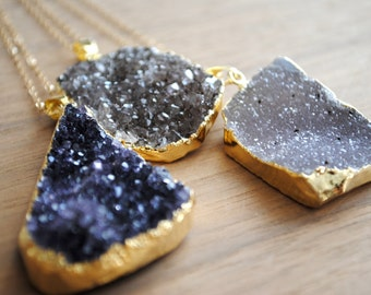 """Raw Druzy Necklace - Gold Edge on 30"""" 14k Delicate Gold Filled Chain, Purple Drusy Necklace, Long Druzy Necklace"""