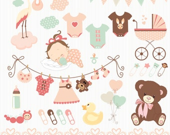 """Baby Shower Clip Art - """"BABY SHOWER"""" Clip Art. Baby Girl.Birth Announcement. Baby Shower Invitation. Banners. Teddy Bear. Commercial Use"""