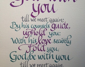 Goodbye Gift, Farewell, Custom Calligraphy, Christian Farewell, Christian Blessing, Pastor Farewell, Religious Farewell, 8 x 10, Any Colors