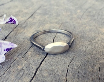 925 sterling silver rings - two tone ring - oval ring - minimalist silver ring - silver stacking sings - sterling silver jewelry - Oval SOX
