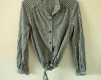 80's Black and White Tie-Up Shirt