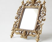 Vintage vanity mirror. Ornate solid brass frame mirror. Antique tabletop mirror.