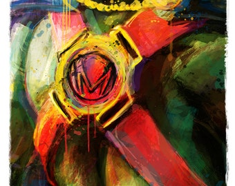 "Martian Manhunter Justice League Abstract Art Print, 13"" x 19"" **express shipping available**"
