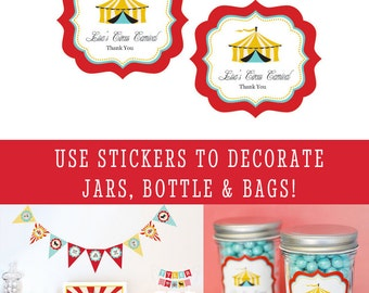 Circus Party Favors Circus Labels -Carnival Labels Decorations -Carnival Party Decorations -Carnival Birthday Circus - set of 16| (EB3020CC)
