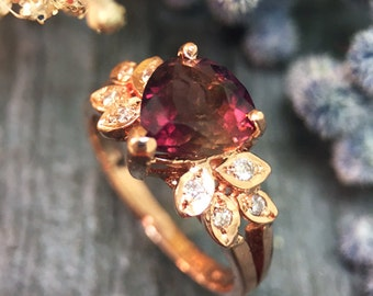 Pink Tourmaline and Diamond Engagement <Prong> Solid 14K Rose Gold (14KR) Colored Stone Wedding Ring *Fine Jewelry* (Free Shipping)