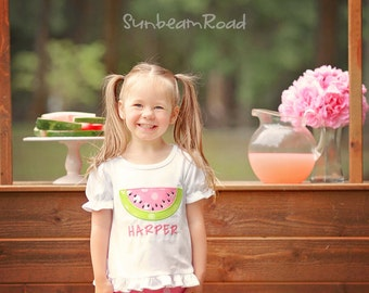 Girl Watermelon Shirt with Embroidered Name